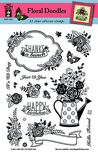 Clear Silicone Stamp Set by Hot Off The Press | Scrapbooking, Card Making, Gifts and Home Décor - Inspiration at Your Finger Tips (Floral Doodles)