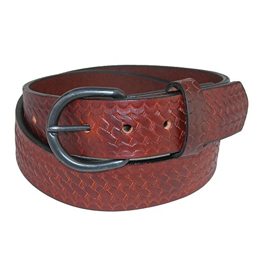 Boston Leather Men's Big & Tall Oil Tanned Leather Belt with Basketweave, 52, Brown ()