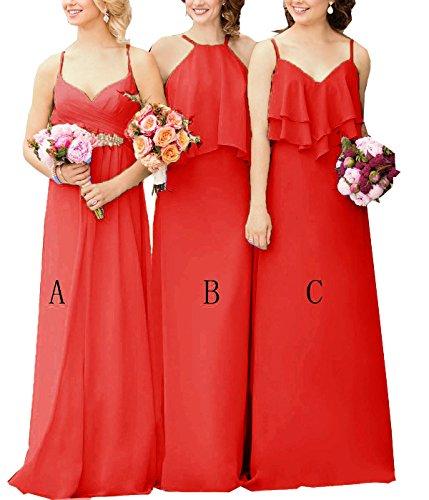 Robes De Mariée Longues En Mousseline De Soie Cdress Bretelles Robes De Soirée Robe De Bal De Mariage Maxi Formel Rouge B