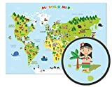 World Map for Kids - XXL Poster - 46.8 x 33.1 Inch - World map for children with cheerful figures and animals - Children can learn about the different continents, cultures and animals of the world.