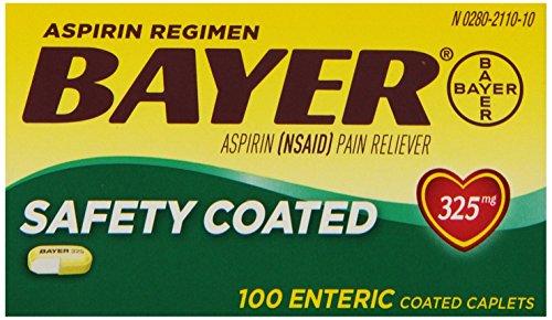 Bayer fuerza aspirina tabletas regulares, régimen, 325 mg, número 100