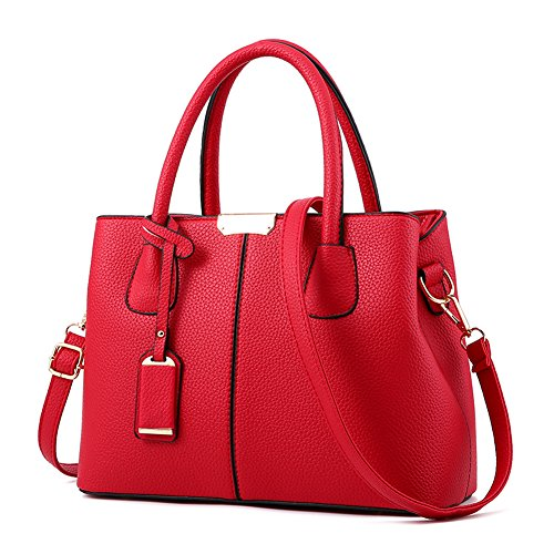 Covelin Women's Top-handle Cross Body Handbag Middle Size Purse Durable Leather Tote Bag Wine (Red Purse)
