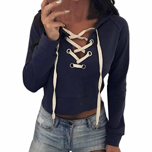 Zainafacai Top Crop -Ladies Cotton Sweatshirt Hoodie Long Sleeve Lace up Hooded Jacket (Blue, L) from Zainafacai