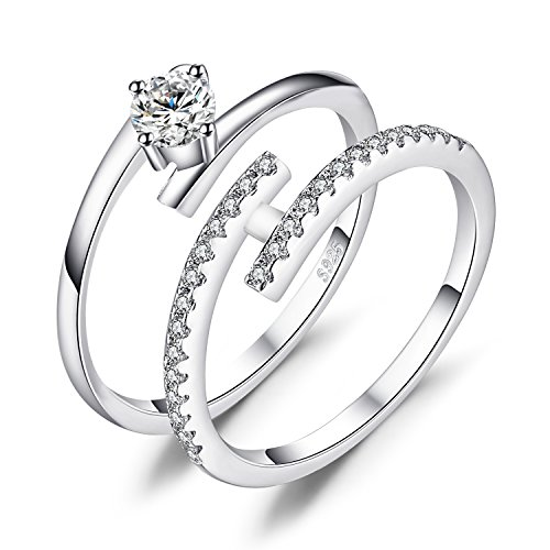 JewelryPalace CZ 925 Sterling Silver Wedding Band Engagement Ring Set