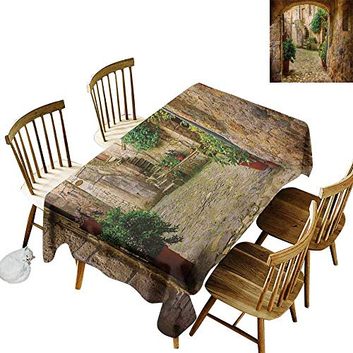 DUCKIL Polyester Tablecloth Scenery Landscape from Another Door Antique Style Stone Village Tuscany Italian Valley Party W70 xL102