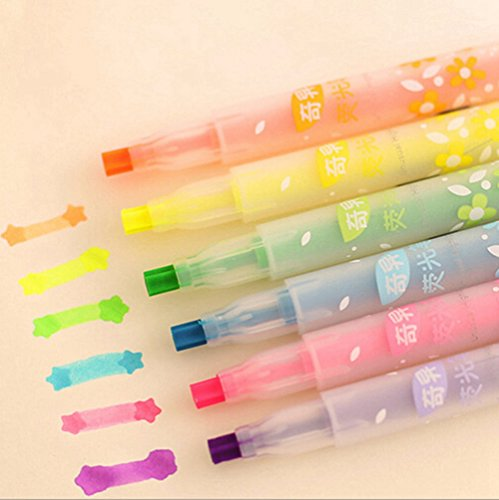 KitMax (TM) Pack of 12 Pcs Cute Cool Colorful Candy Color Star Shape Pen Tip Highlighter Pen Office School Supplies Students Children Gift (Color May Vary)