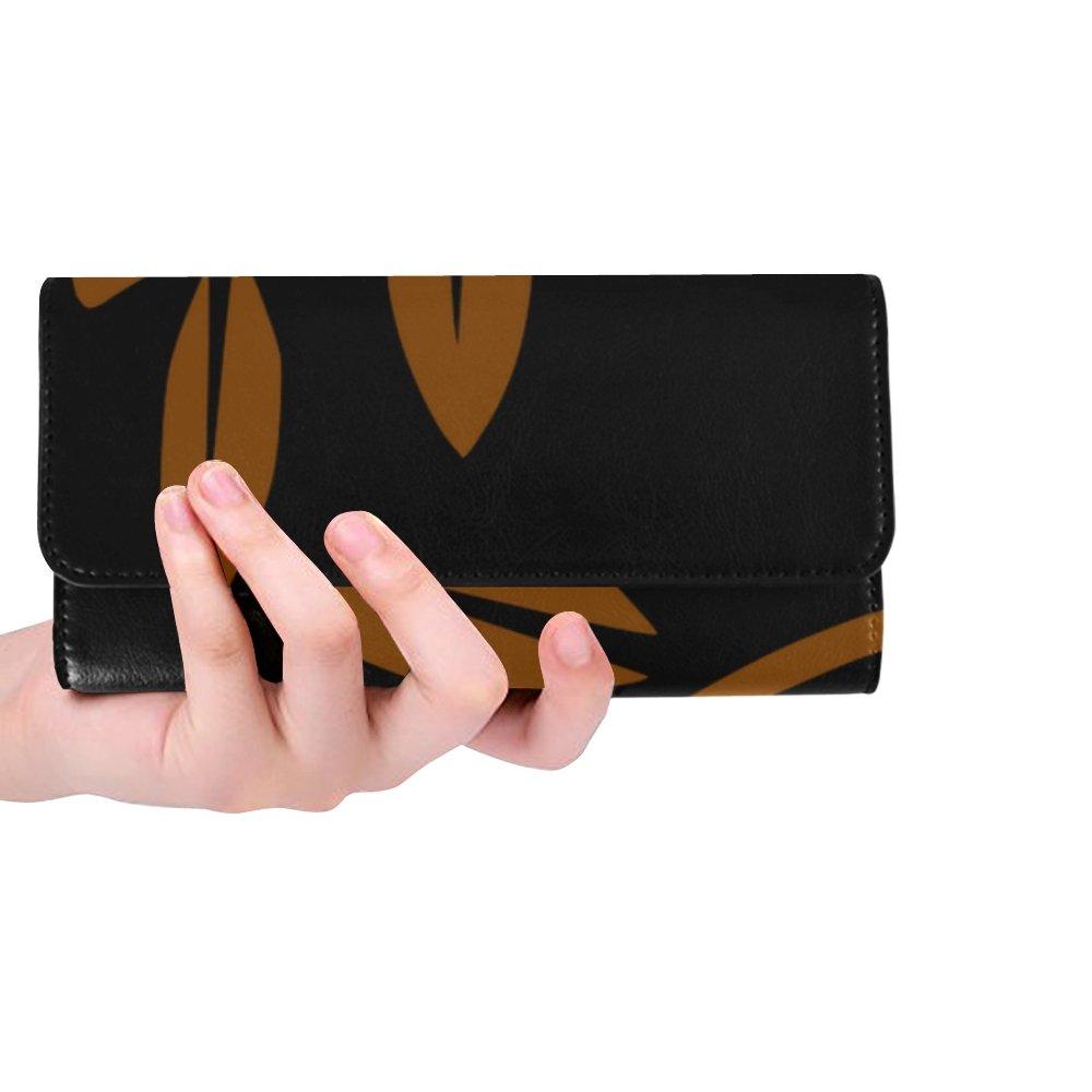 Unique Custom Branch Leaves Brown Decoration Nature Women Trifold Wallet Long Purse Credit Card Holder Case Handbag by JTMOVING