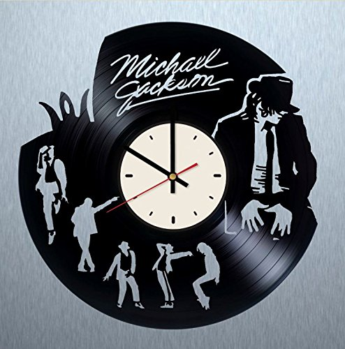 Michael Jackson art vinyl wall clock - handmade artwork unique home bedroom living kids room nursery wall decor great gifts idea for birthday, wedding, anniversary - customize your (White/Black)