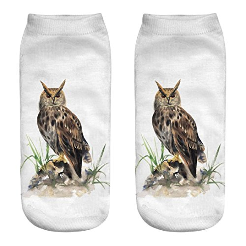 Animaux Chic 3 Socks Adeshop 3d Chaussettes Owl Respirant Pour Courtes Pattern Imprimées Multicolore Élasticité En 1 Paire qBqwRf