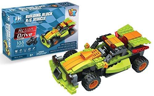 Buildable RC Race Car 136 pc UniBlock Remote Control Brick Car Compatible with Major Brands Unitech Toys