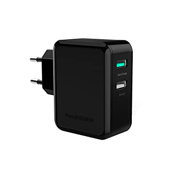 RAVPower Cargador USB Quick Charge 2.0 30W, Cargador de Red Doble Puertos USB [Qualcomm Quick Charge 2.0, iSmart Tecnología, Triple-Protección] para ...
