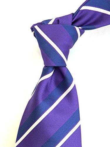 Robert Jensen Finest Silk Handmade Men's Neck Tie - Woven - (Purple with Navy Blue) by ROBERT JENSEN (Image #1)