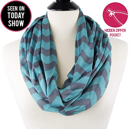 Womens Grey and Turquoise Chevron Print Pattern Infinity Scarf Wrap with Zipper Pocket, Best Travel Infinity Scarves for Women, Girls, Ladies