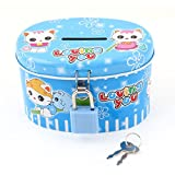 uxcell® Metal Shell Cat Pattern Money Coins Saving Piggy Bank Box Blue w Lock
