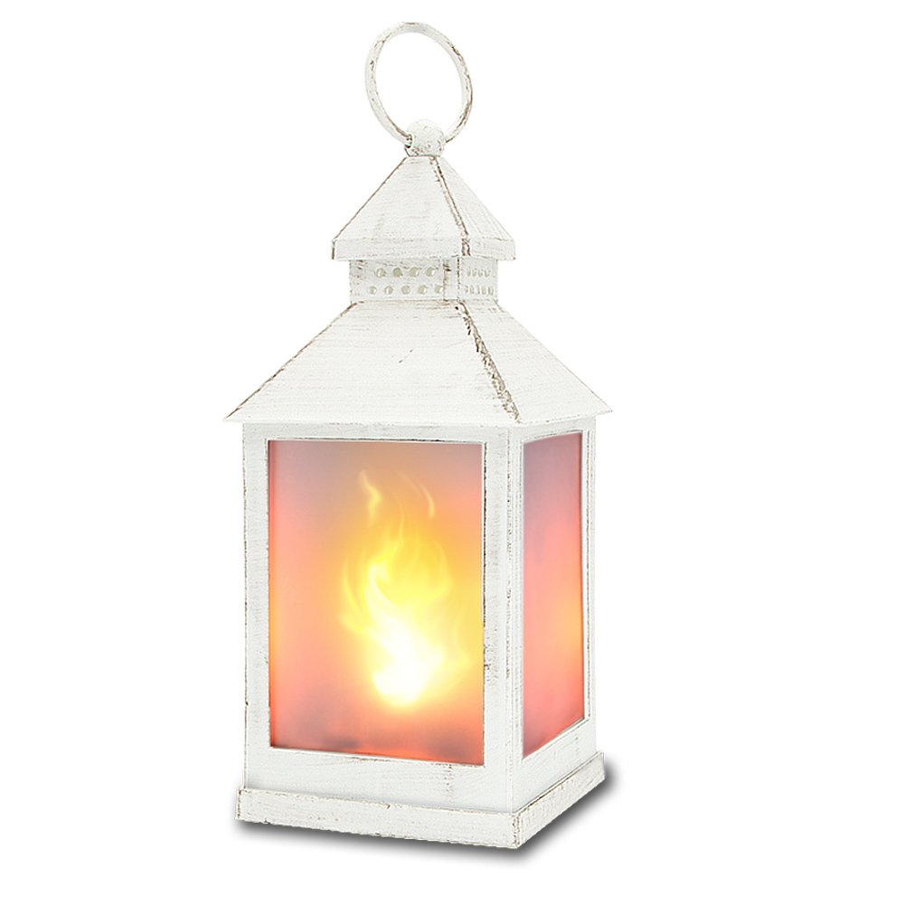 "zkee 11"" Vintage Style Decorative Lantern,Flame Effect LED Lantern,(White,4 Hours Timer), Indoor Lanterns Decorative,Outdoor Hanging Lantern,Decorative Candle Lanterns"