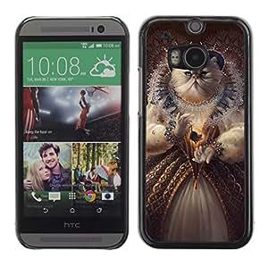 iKiki-Tech Estuche rígido para HTC One M8 - Funny Queen Cat Painting