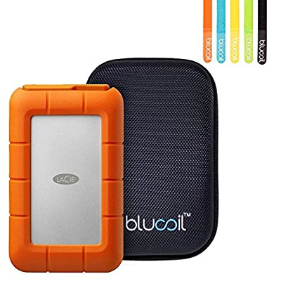 LaCie LAC9000633 Rugged Mini 4TB External Hard Drive Disk with USB 3.0/USB 2.0 -INCLUDES- Blucoil Portable Shockproof Hard Case AND 5 Pack of Reusable Cable Ties by blucoil