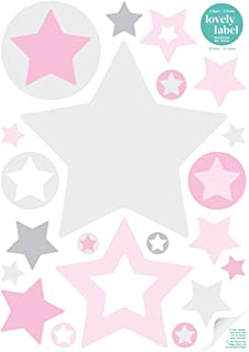 Babyzimmer Grau Rosa lovely label bordüre selbstklebend sterne grau rosa wandbordüre