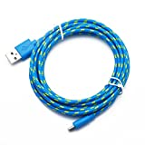 TONSEE 1M Hemp Rope Micro USB Charger Sync Data Cable Cord for Samsung,Sony,Moto,HTC,Nokia (Blue)