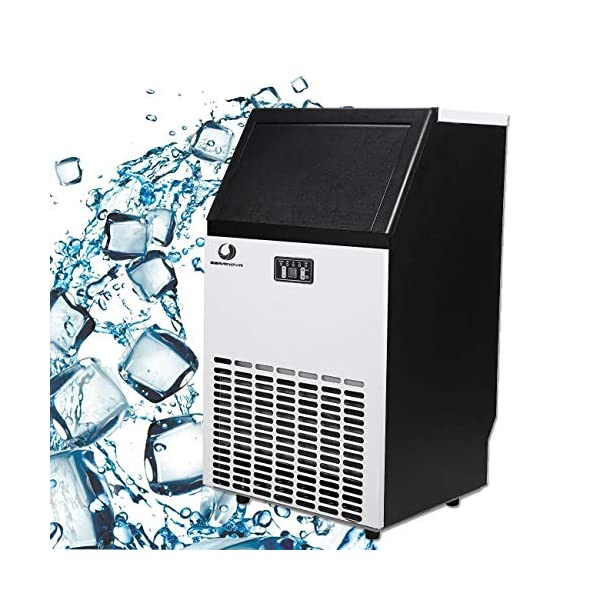BEAMNOVA Commercial Ice Maker Machine Freestanding Ice Making Machine Built in Counter for Restaurant Bubble Bar, 35 LB Storage Bin, 68-100 LB Daily Ice Making Capacity, 1 Year Warranty 51v5H9ggN5L
