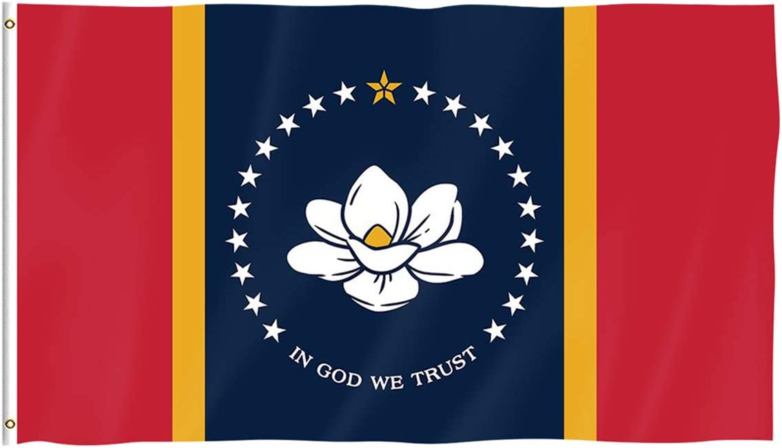 Pterosaur New Mississippi State Flag, Magnolia Flag in GOD WE Trust 3x5 Ft