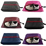 FashionBoutique Durable Waterproof Nylon Travel Shoe Bags with Zipper for Men and Women - Set of 6 (Multicolor)