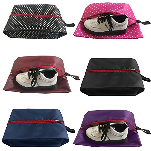 ble Waterproof Nylon Travel Shoe Bags with Zipper for Men and Women - Set of 6 (Multicolor) ()