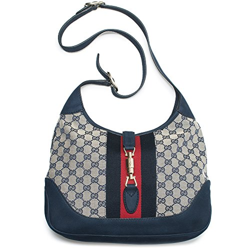 Gucci Jackie Original GG Shoulder Bag Stripe Classic Medium Handbag Blue Navy Red New