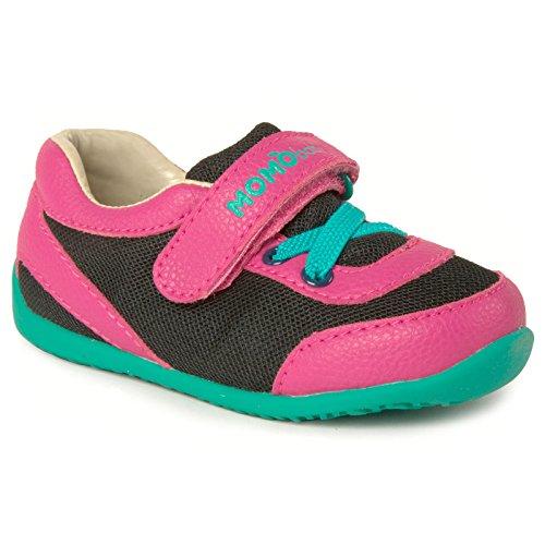 Momo Baby Girls First Walker Toddler Leah Sneaker Shoes - 5 Black/Pink