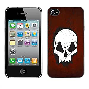 LASTONE PHONE CASE / Slim Protector Hard Shell Cover Case for Apple Iphone 4 / 4S / Goth Skull Red