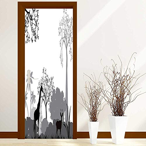 - L-QN Creative Door Stickers Bedroom Doors Collection Silhouette of Savannah with Giraffe Deer and Trees Wild African Safari Region Indoor and Outdoor use W17.1 x H78.7 inch