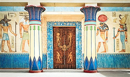 Leowefowa 7X5FT Vinyl Ancient Egyptian Mural Painting Backdrop Pharaoh Hieroglyphics Hand Painted Pillars Religion Artistic Belief Carving Door Photography Background Kids Adults Photo Studio Props ()