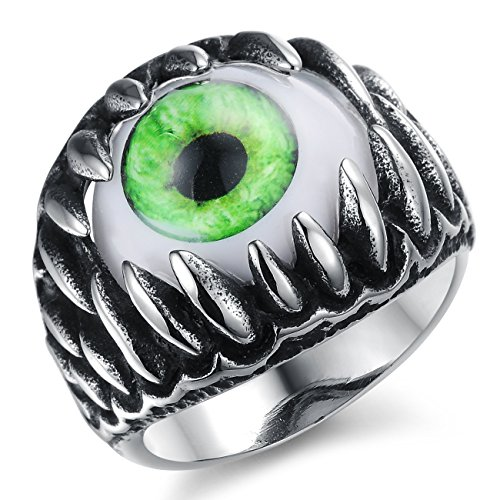Elove Jewelry Stainless Steel Dragon Claw Evil Eye Men's Ring