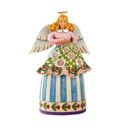 Jim Shore Heartwood Creek Mini Quilting Angel Figurine, 5-Inch
