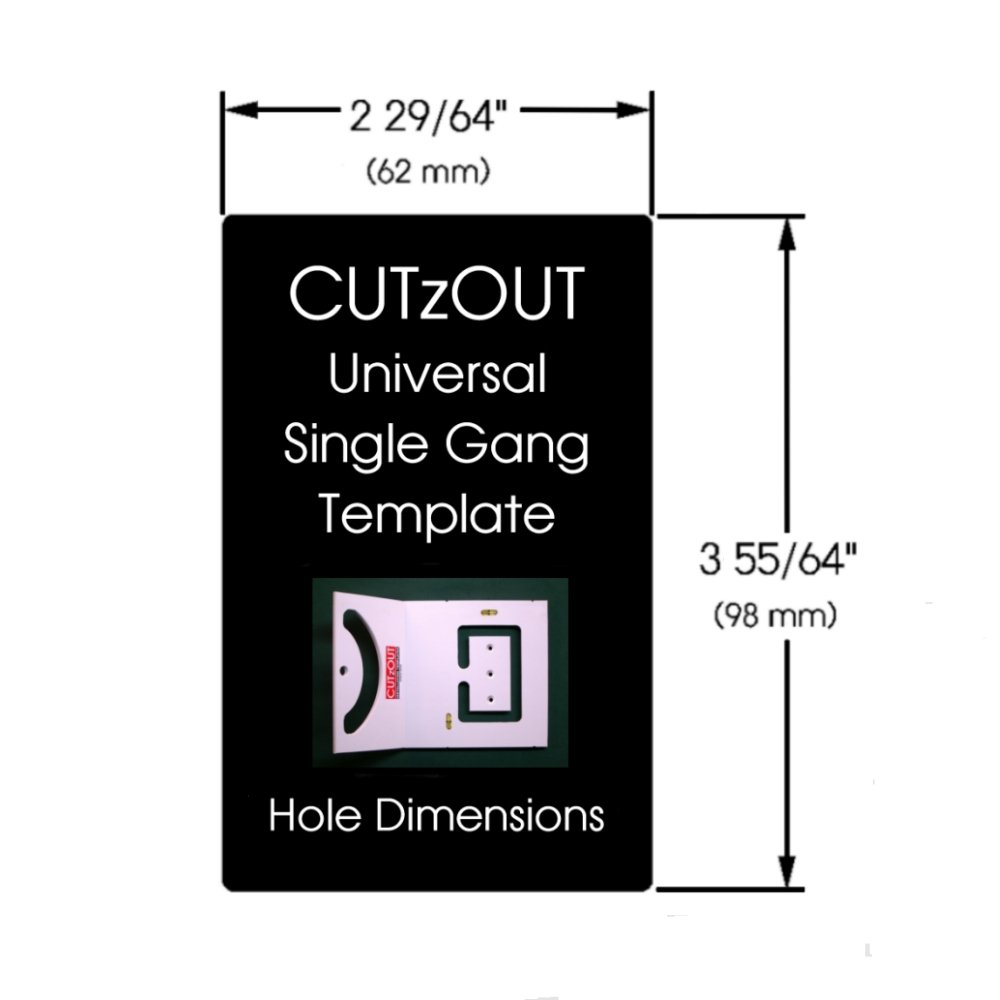 CUTzOUT Single and Double Gang New & Old Work Electrical Box and Low Voltage Box & Bracket Drywall Hole Cutter Templates with Attachment for Spiral Saws, Cut Out, and Rotary Tools by CUTzOUT Installation Templates (Image #6)