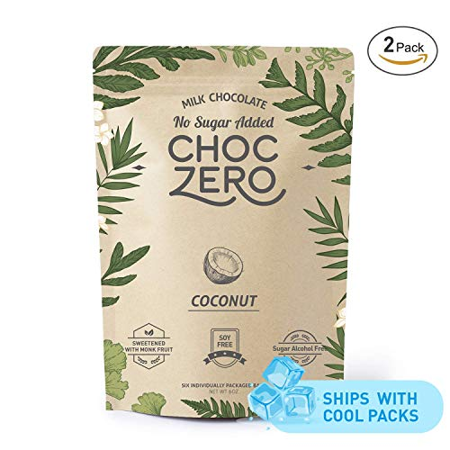 - ChocZero's Keto Bark, Milk Chocolate Coconuts, No Added Sugar, Low Carb, No Sugar Alcohols, Non-GMO (2 bags, 6 servings/each)