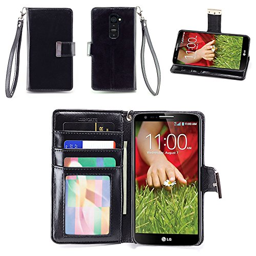 IZENGATE Executive Premium PU Leather Wallet Flip Case Cover Folio Stand for LG G2 (Sprint & T-Mobile Only) (Black) (Beautiful Lg G2 Phone Cases)