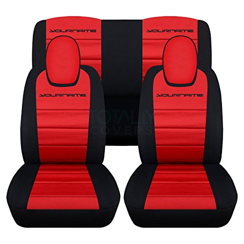 Totally Covers Fits 2010-2015 Chevy Camaro 2-Tone Seat Covers w Your Name/Text: Black & Red - Full Set (22 Colors) Coupe/Convertible Belt Holder Compatible 5th Generation Chevrolet 2011 2012 2013 2014 (The Best Text Tones)