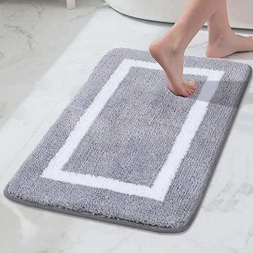 Bathroom Rug Mat, Super Soft Microfiber Bath Mat, Machine Wash Dry, Non Slip Absorbent Shaggy Bath Rug for Tub, Shower…