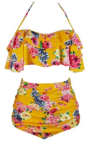 COCOSHIP Mustard Yellow & Pink Bold Bloom Floral Vintage Flounce Falbala High Waist Bikini Set Swimsuit Outdoor Bathing Suit XL
