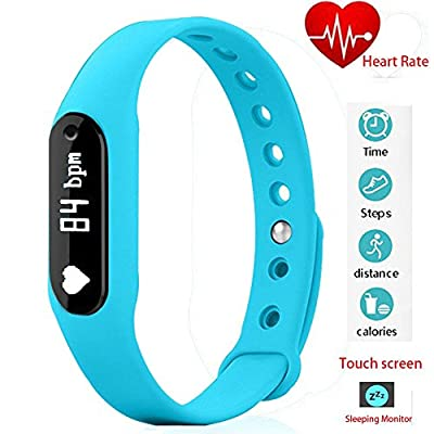 Twinbuys Smart Bracelet Bluetooth 4.0 Android iOS Touch Screen Fitness Tracker Phone Message Notice Pedometer Distance Calories Counter Heart Rate Sleep Monitor Health Sport Wristband Blue