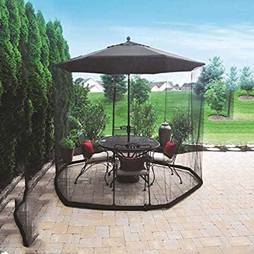 蚊帳、傘カバー蚊帳スクリーン、屋外傘テーブル画面ジッパードア付き蚊帳メッシュ、ポリエステルメッシュネット、屋外のテラスのキャンプ傘に最適(7.5FT)