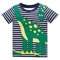 Huata Little Boys Short Sleeve Crew Neck T-Shirt Tops Tee (3T, Dinosaur)