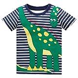 Huata Little Boys Short Sleeve Crew Neck T-Shirt Tops Tee (4T, Dinosaur)