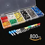 Sopoby 800pcs Ferrule Crimp Wire Connectors, Insulated Cord Pin End Terminals Kit, 10-24 A.W.G.