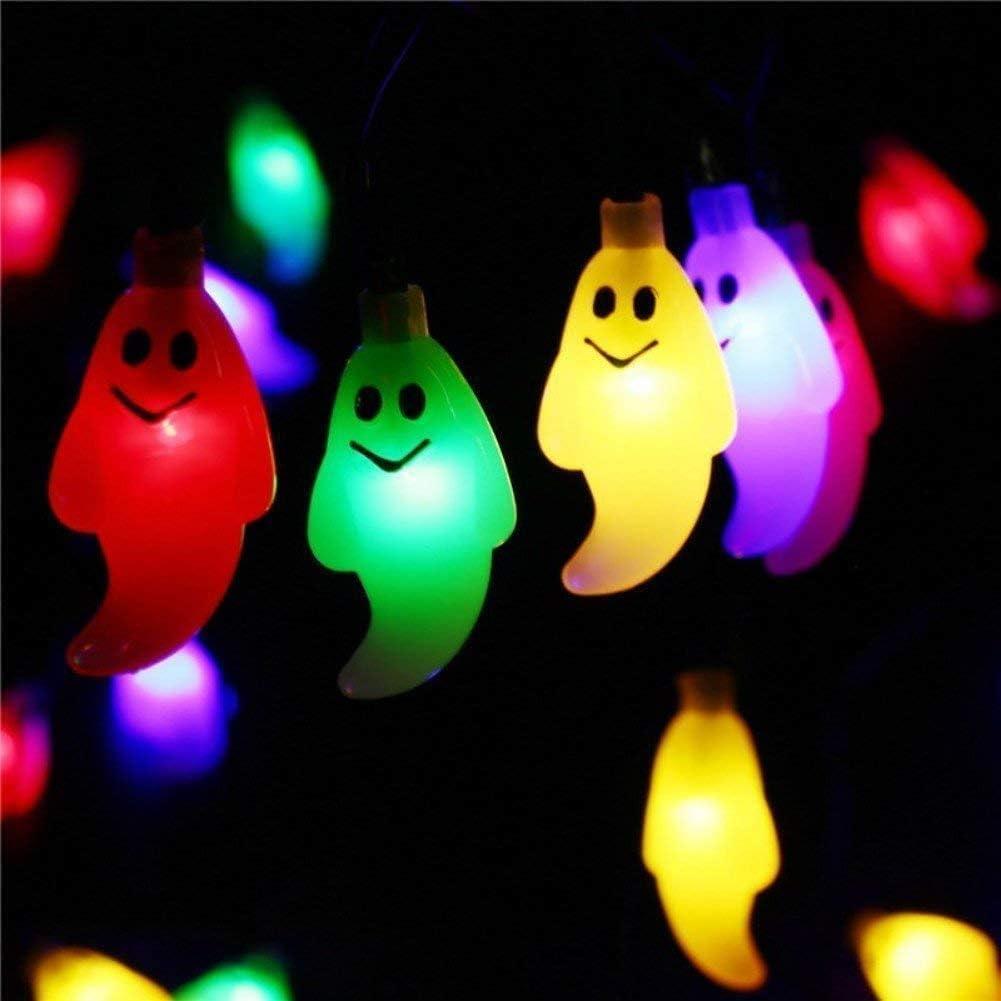 FEE-ZC Cadena de Luces solares al Aire Libre, Luces de Fantasmas de Halloween 6.35M 30 Luces LED de Fantasmas solares a Prueba de Agua para Fiestas en el jardín al Aire Libre Multicolor