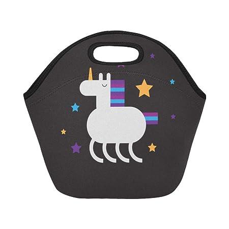 Lonchera aislada de neopreno con diseño de unicornios y estrellas ...