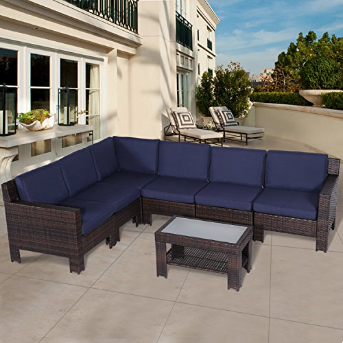 Diensday Outdoor Furniture 7-Piece Sectional Sofa Set All Weather Brown Wicker Deep Seating with Navy Blue Olefin Cushions Sophisticated Glass Coffee Table Patio, Backyard, Pool, Porch