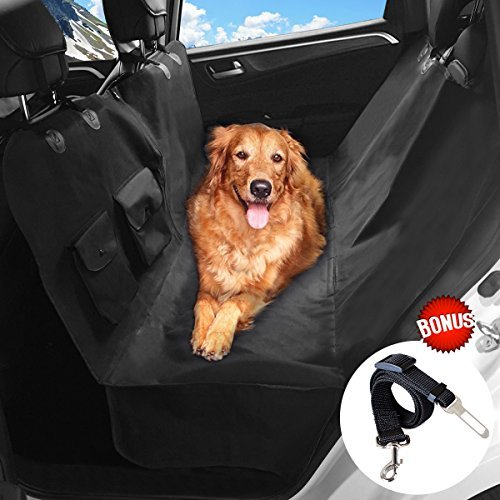 upsimples Dog Seat Cover Pet Car Seat Cover No Stitch Hole Heavy Duty Dog Hammock Non-slip Waterproof Back Seat Cover for Car SUV Minivans, Black