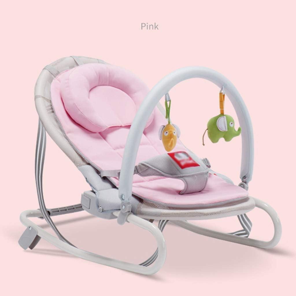 ベビーロッキングチェア 幼児への新しい生まれのに適しバウンサーベビーロッキングチェアコンフォートリクライニングチェアスマートバウンスバウンサーベビー玩具スリーピーアーティファクトクレードル ベッド (Color : Pink)